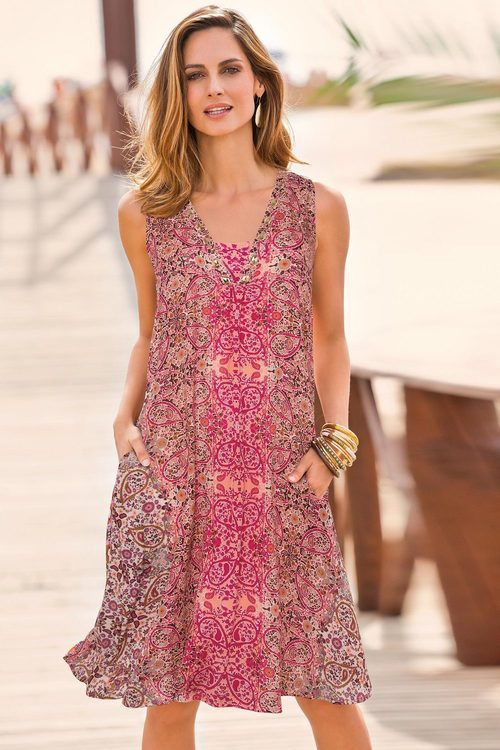 European Collection Printed Dress