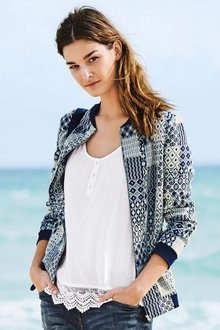 Next Blue Jacquard Patch Jacket Online | Shop EziBuy
