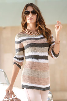 Capture European Striped Knit Pullover