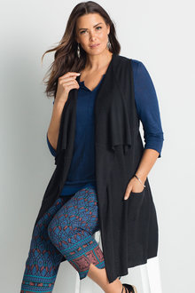 Sara Sleeveless Layer Waterfall Cardigan