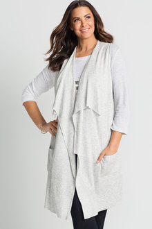 Plus Size - Sara Sleeveless Layer Waterfall Cardigan