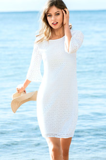 Emerge Bell Sleeve Broidery Dress
