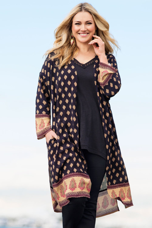 Plus Size - Sara Crinkle Duster Jacket