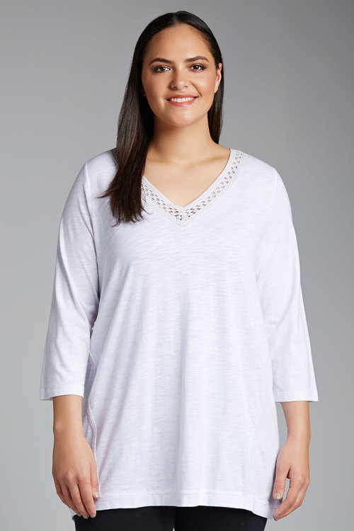 Plus Size - Sara Lace Detail Top