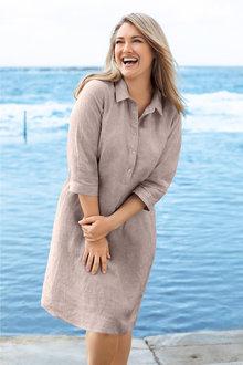 Plus Size - Sara Linen Shirt Dress