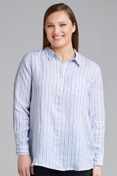 Plus Size - Sara Stripe Linen Shirt