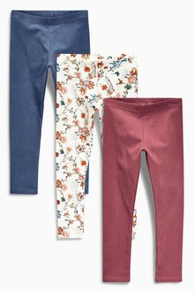Next Floral/Rust/Blue Leggings Three Pack (3-16yrs)