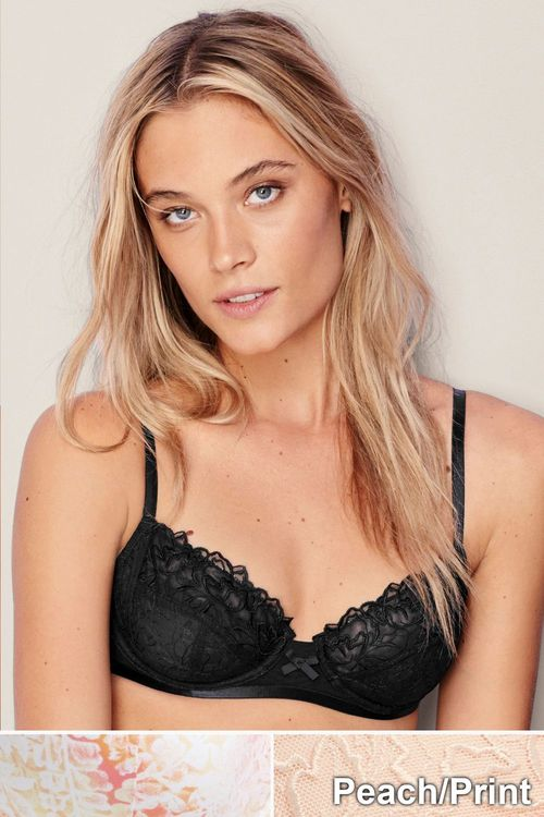 Next Lizzie Embroidery Non Padded Balcony Bras Two Pack