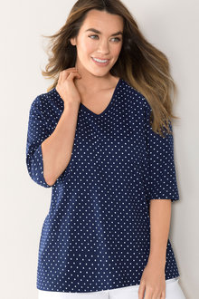 Plus Size - Sara V Neck Tee - 159811