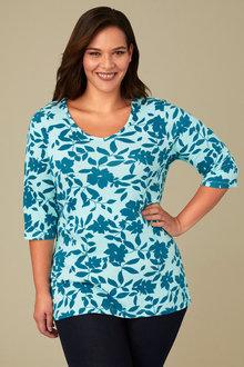 Plus Size - Sara V Neck Tee - 159811