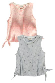 Next Grey/Pink Stripe Tie Side Vests Two Pack (3-16yrs)