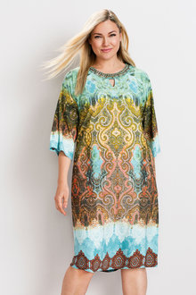 Plus Size - Sara Split Shoulder Beaded Dress