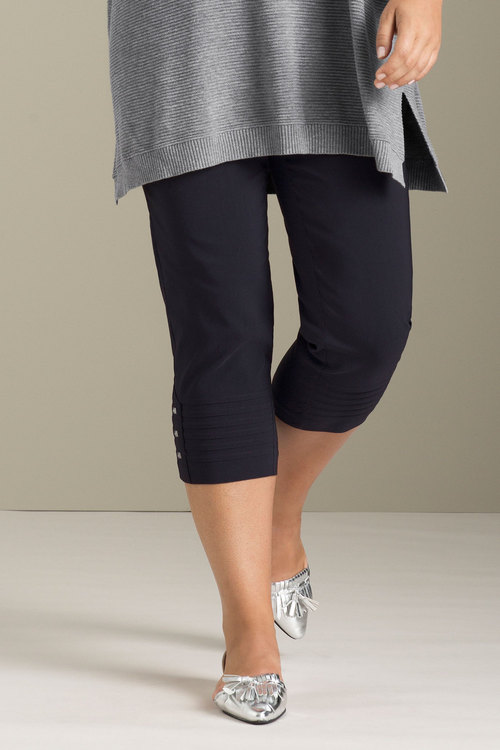 Plus Size - Sara Bengaline Pull On Cuff Pleat Detail Pant