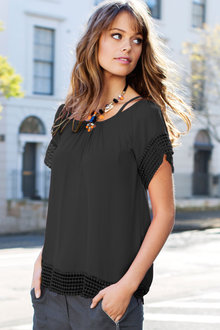 Emerge Cold Shoulder Trim Top