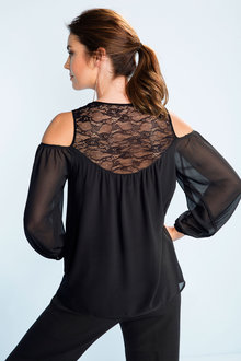 Grace Hill Lace Cold Shoulder Top
