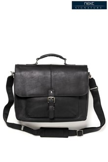 Next Black Signature Leather Oily Briefcase
