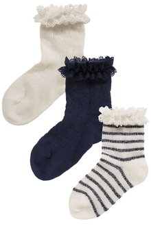 Next Navy/Cream Frill Socks Three Pack (Younger Girls)