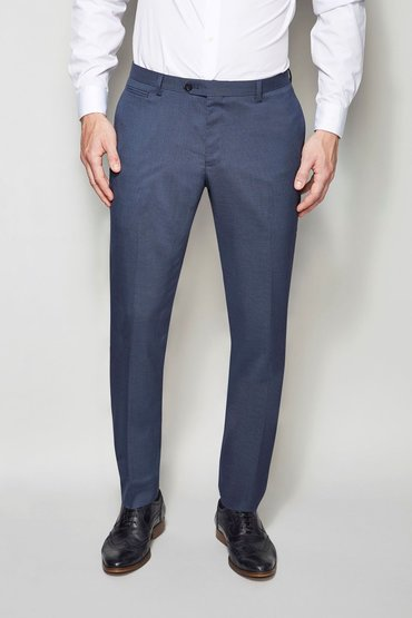 Next Blue Shawl Collar Skinny Fit Tuxedo Suit: Trousers