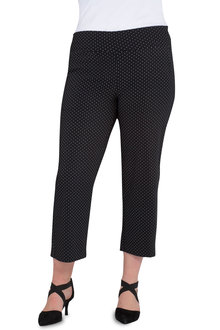 Plus Size - Sara Printed Bengaline 3/4 Pull On Pant