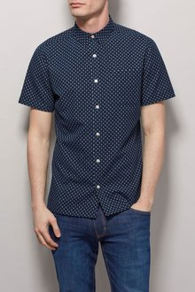 Next Navy Textured Short Sleeve Shirt