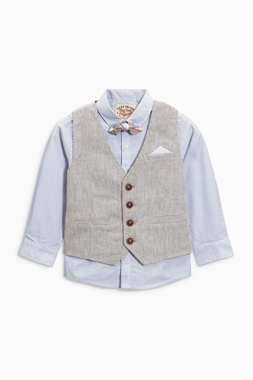 Next Neutral Linen Blend Waistcoat Shirt and Bow Tie Set (3mths-6yrs ...