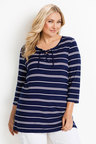 Plus Size - Sara Stripe Lace Detail Tunic
