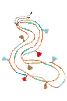 Next Turquoise And Orange Tassel Detail Multi Row Necklace