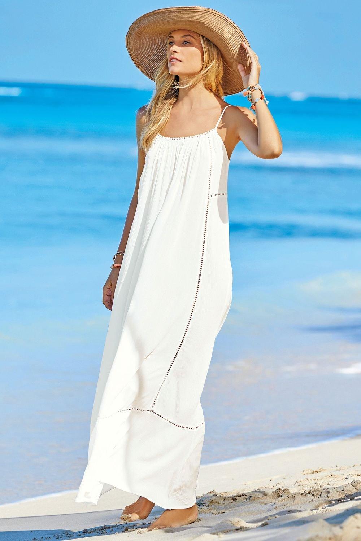 Two Piece Beach Dress - Lightweight t-shirt Underdress / Pocketed Outerwear