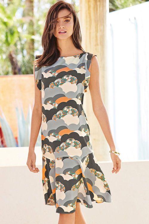 Next Multi Cloud Print Dress - Tall
