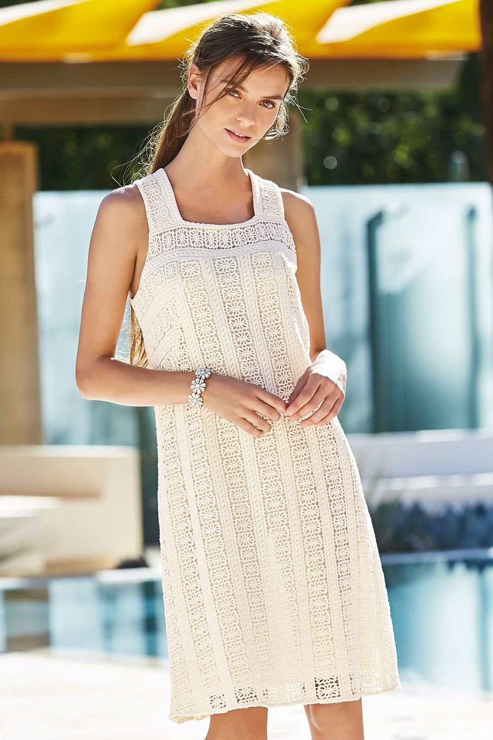 picked up for whole family discount Next Cream Lace Pinafore Dress - Tall Online | Shop EziBuy