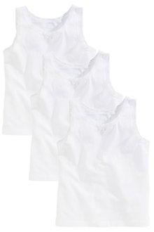 Next Sr 3Pk White Vest (1-10yrs) - 161511
