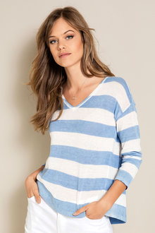 Emerge Printed Stripe Sweater
