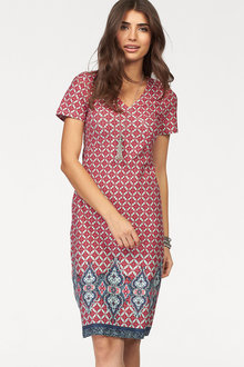 Urban Border Print Dress - 161909