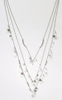 Next Silver Tone Beaded Layer Necklace