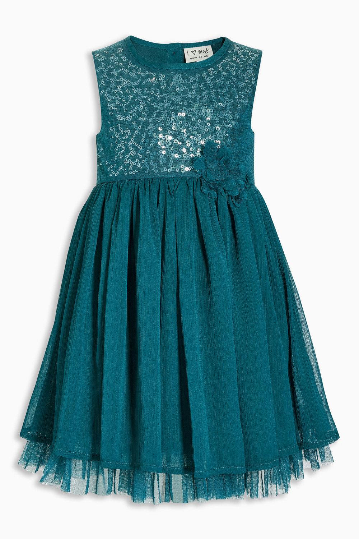 Next Teal Sequin Party Dress (3mths-6yrs) Online | Shop EziBuy