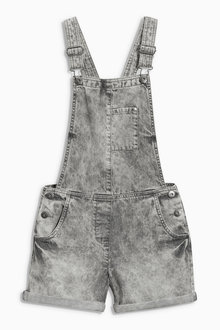 Next Grey Snow Wash Denim Dungarees (4-16yrs)