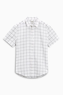 Next White Window Pane Short Sleeve Linen Blend Shirt