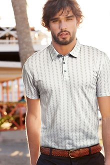 Next Grey Fan Print Polo