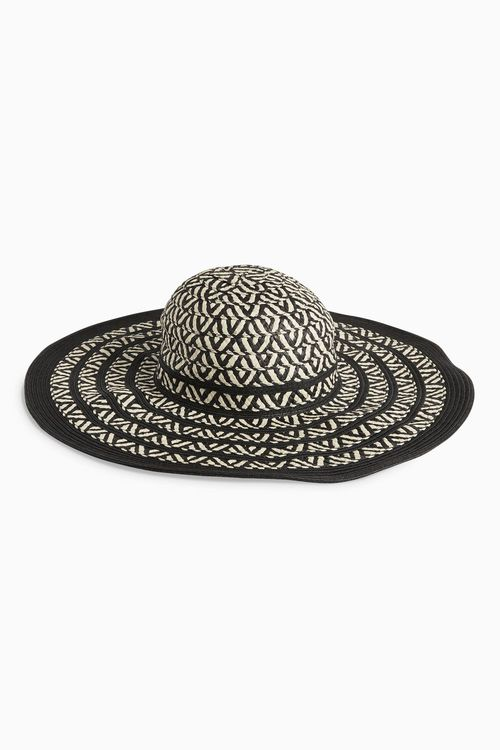 Next Black Mono Weave Floppy Hat