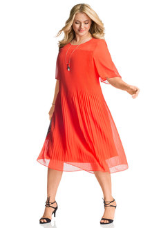 Plus Size - Sara Pleat Bell Sleeve Dress