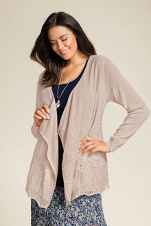 Plus Size - Sara Embroidered Cardigan