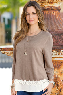 Together Lace Trim Sweater