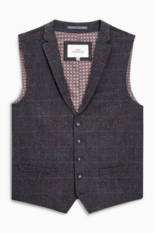 Next Large Check Textured Waistcoat