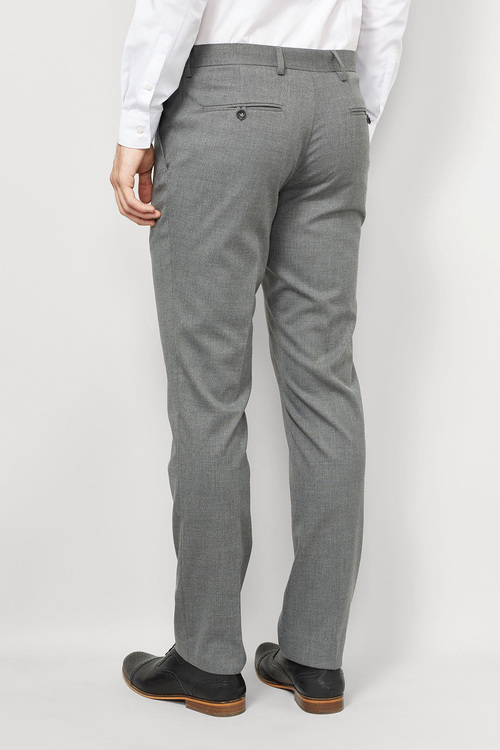 Next Grey Textured Slim Fit Trousers