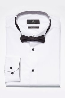 Next White Wing Collared Shirt and Bow Tie Set
