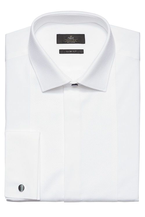 Next White Bib Fronted Dress Shirt