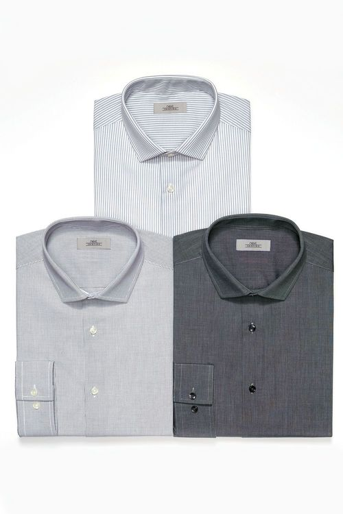 Next Grey Checked  Striped And Plain Shirts Three Pack
