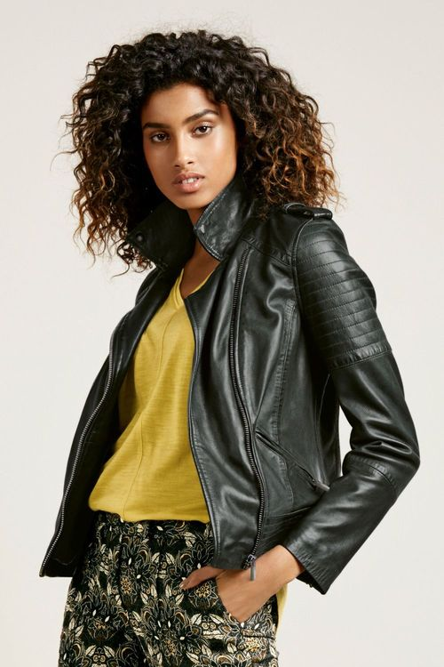 Next grey leather biker jacket – Modern fashion jacket photo blog