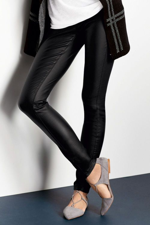 Next Black Coated Leggings - Petite