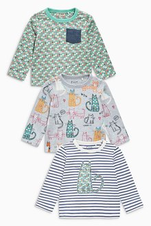 Next Blue Cat Long Sleeve Tops Three Pack (3mths-6yrs)